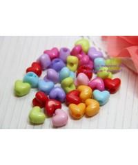 Бусины сердца разноцветные   10 шт