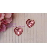 """Сердце  """" Бриллиант """" 16 мм розовое"""
