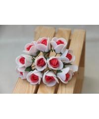 Букет роз  1,5 см  белый с красным